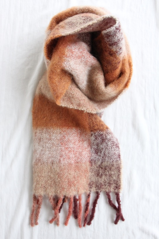 indi&cold brown check mohair scarf