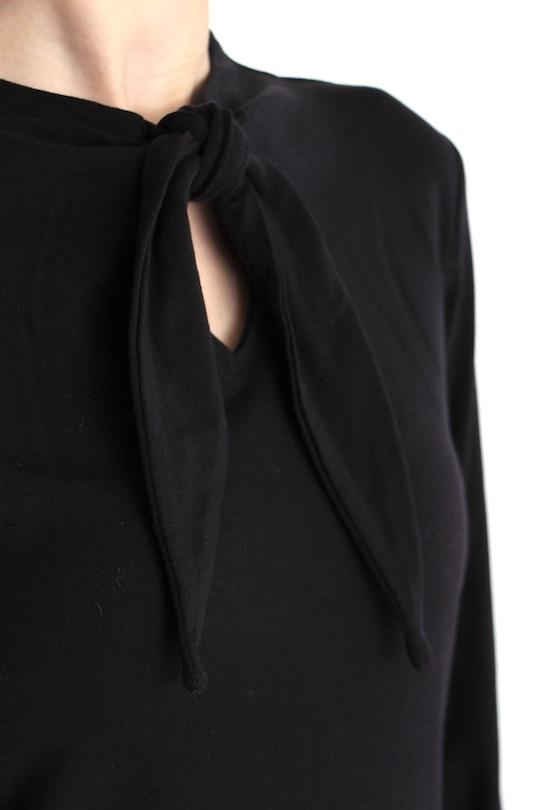 Lana ribbon black tie tops