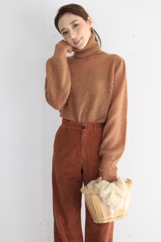Leon&Harper Orange turtle puff sleeve knit