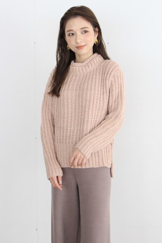 indi&cold high-neck pink lib knit