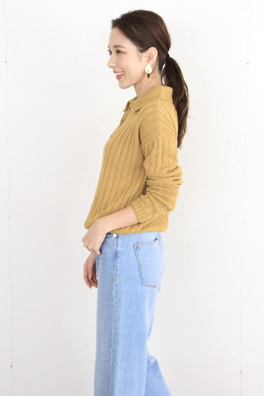 RITA ROW shirt design yellow lib knit TOPS