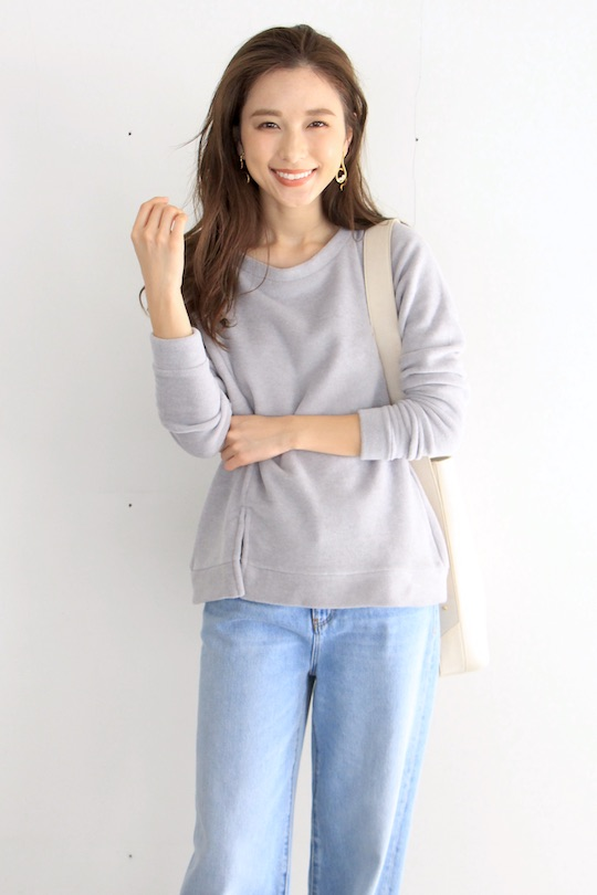 Simple slit design gray TOPS