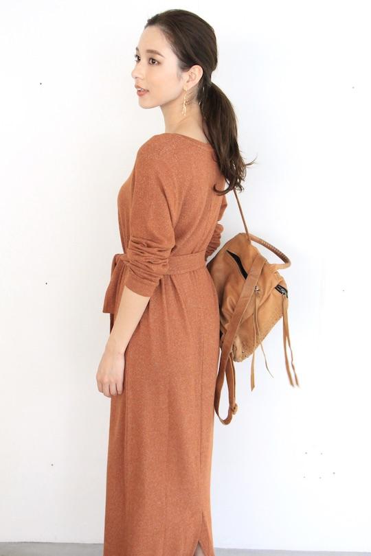 Simple orange Vneck long dress