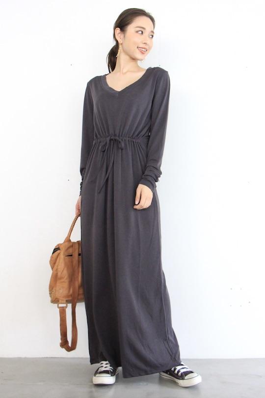 Simple Vneck waist ribbon dress