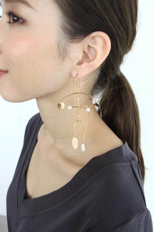 RITA ROW pearl×moon gold earrings