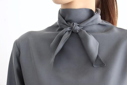 ALYSI smoky blue ribbon tie silk blouse