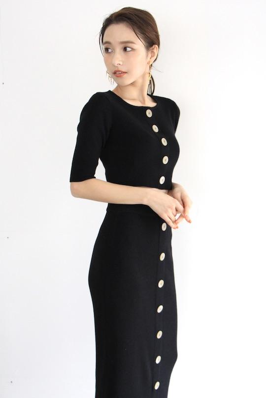 RITA ROW short length button black knit