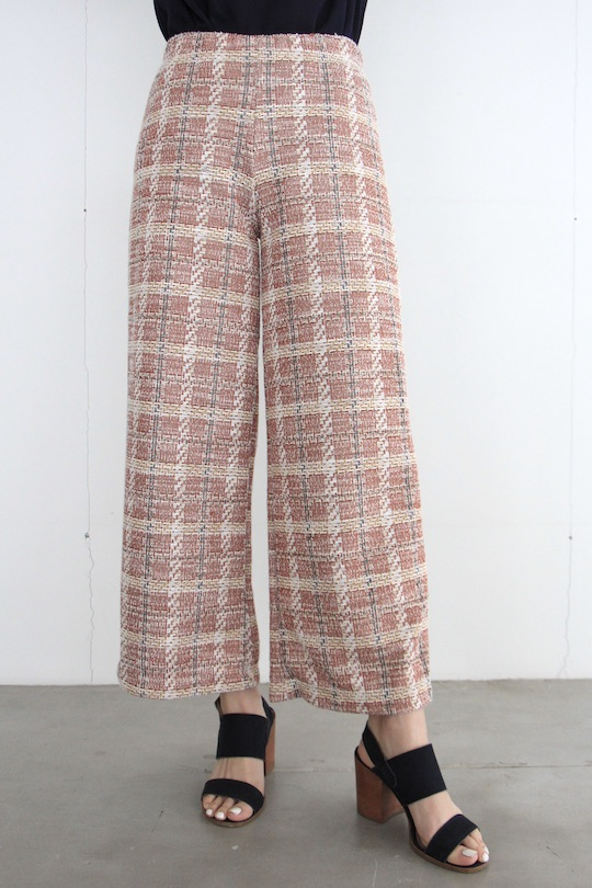 indi&cold check design tweed wide pts