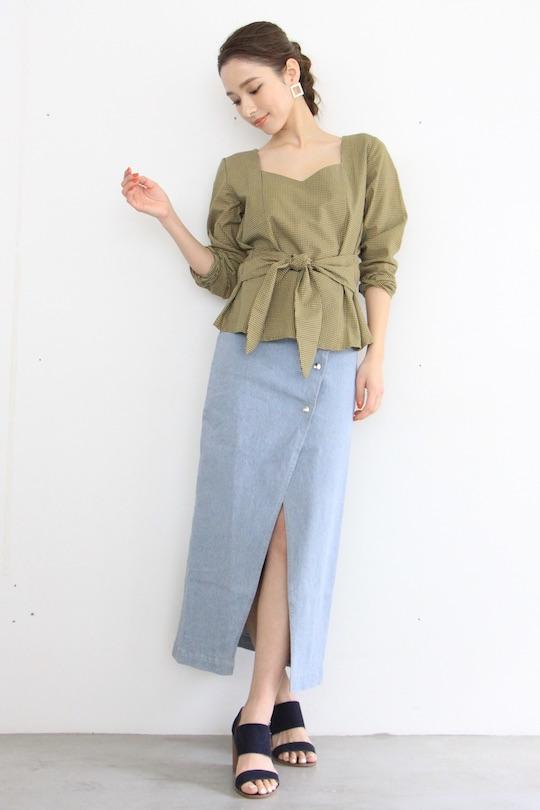 RITA ROW organic cotton check blouse TOPS