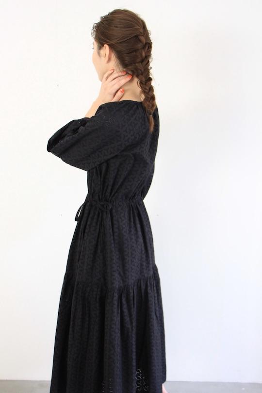 SKALL punching black cotton dress