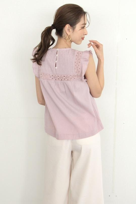 indi&cold Shoulder frilled blouse lavender pink