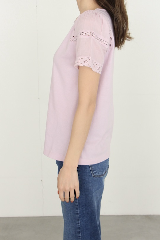 indi&cold lavender pink sleeve lace t-shirt