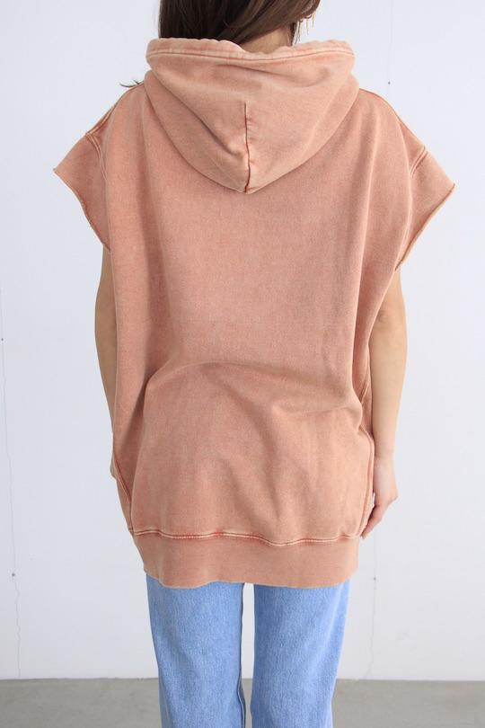 Leon&Harper orange sweat half-sleeve hoodie TOPS