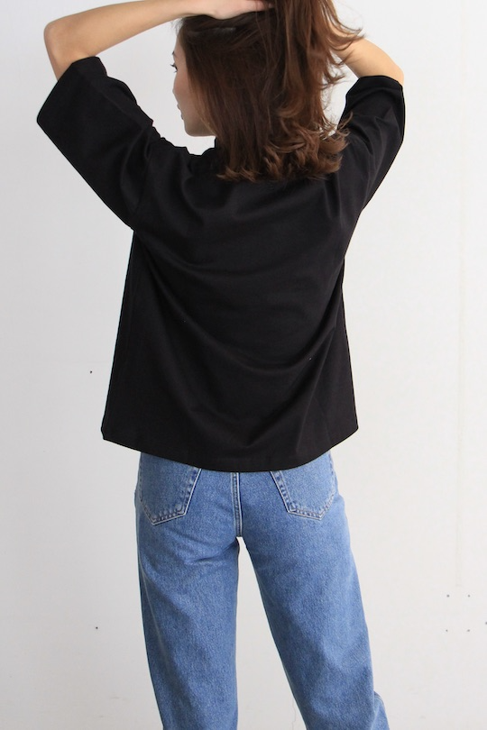 JUST high-neck organic cotton  black TOPS
