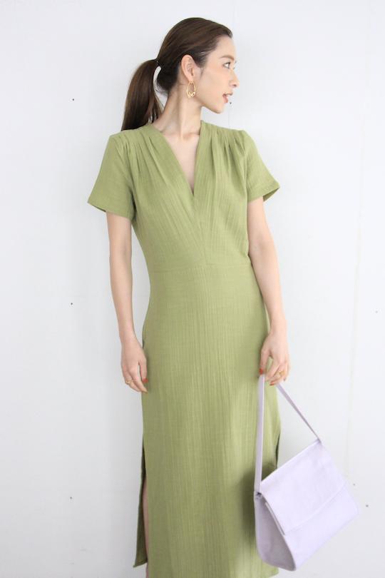 <img class='new_mark_img1' src='https://img.shop-pro.jp/img/new/icons55.gif' style='border:none;display:inline;margin:0px;padding:0px;width:auto;' />RITA ROW V-neck  cotton dress green