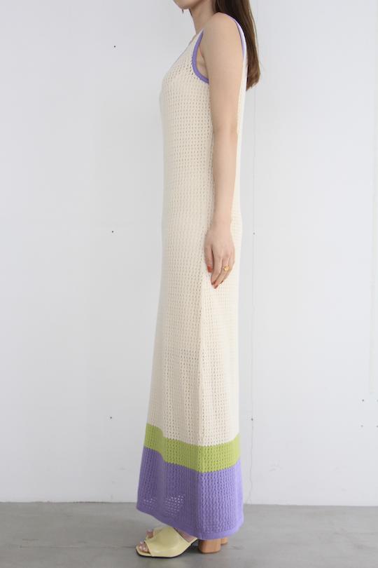 RITA ROW Hem bicolor mesh knit dress white
