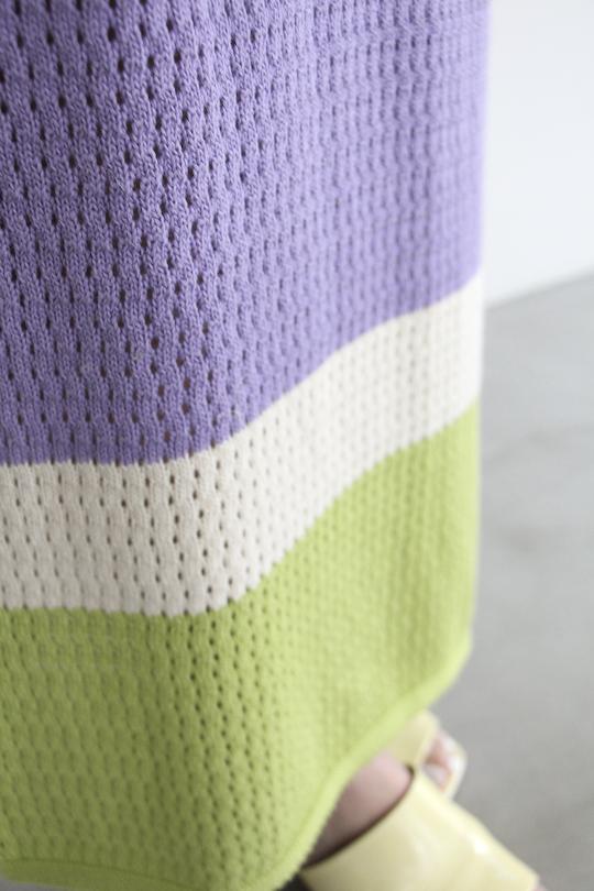 RITA ROW Hem bicolor mesh knit dress purple
