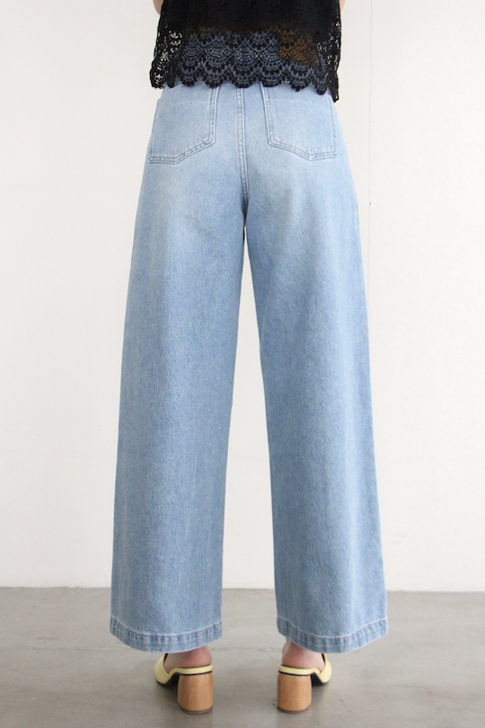 JUST light blue wide denim pants
