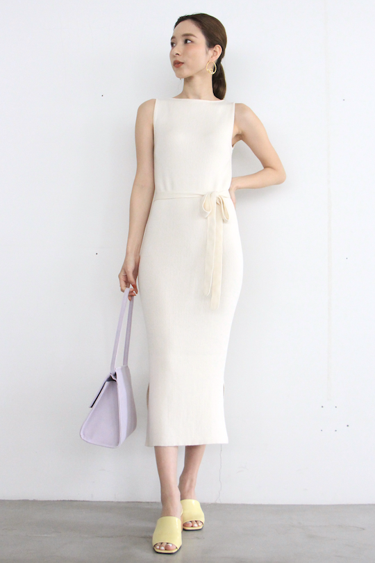 mila.vert organic cotton boat neck knit dress