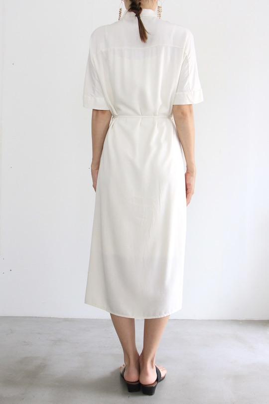 SIMPLE viscose white half-sleeve dress