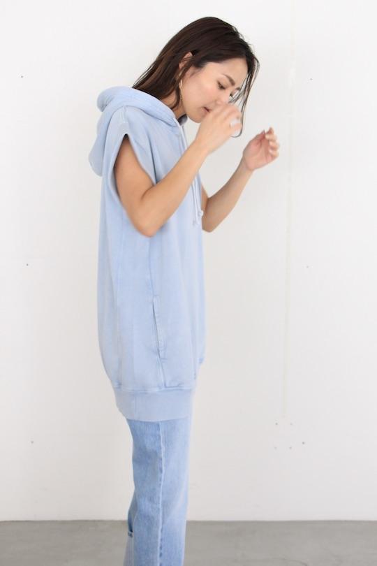Leon&Harper light blue sweat half-sleeve hoodie TOPS