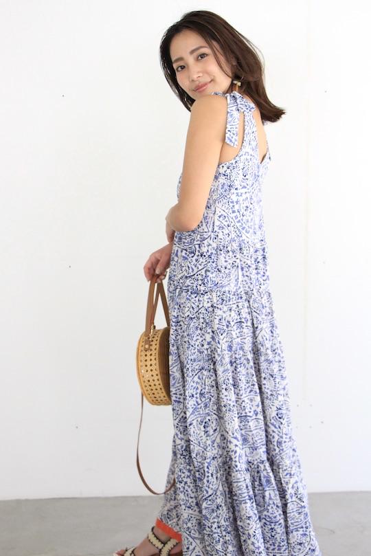 THML oriental design maxi dress