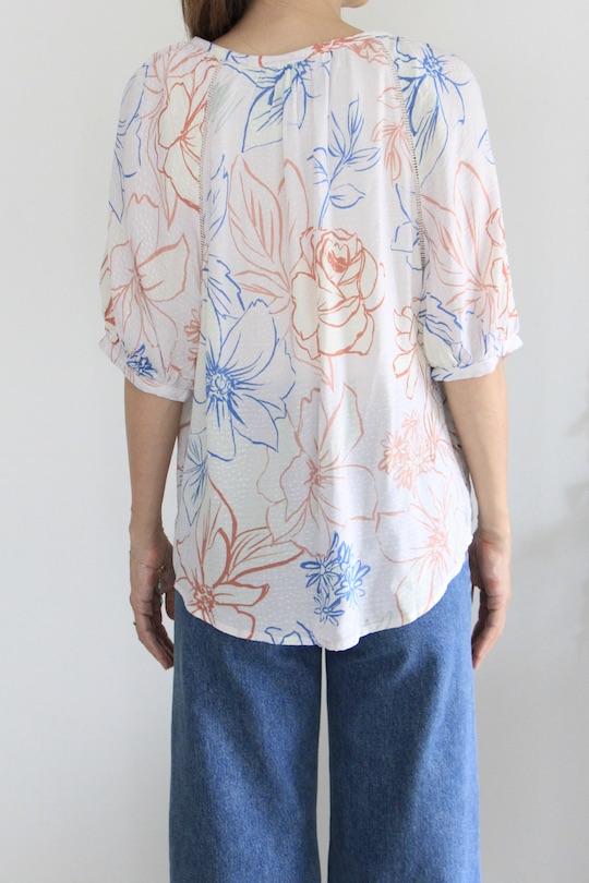 Love stitch flower design rayon shirt TOPS pink