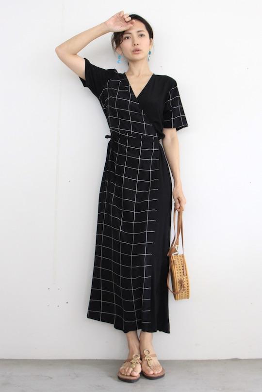 JUST black × cheack cashe-coeur dress