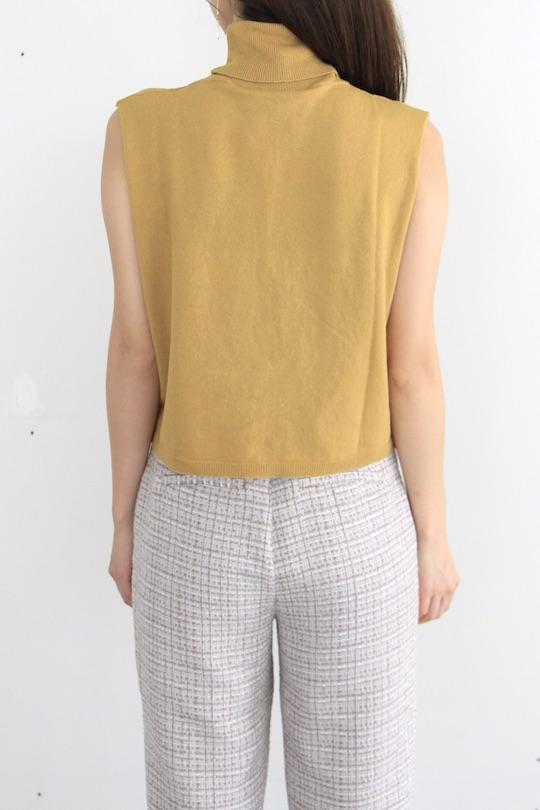 RITA ROW sleeveless turtule yellow knit TOPS