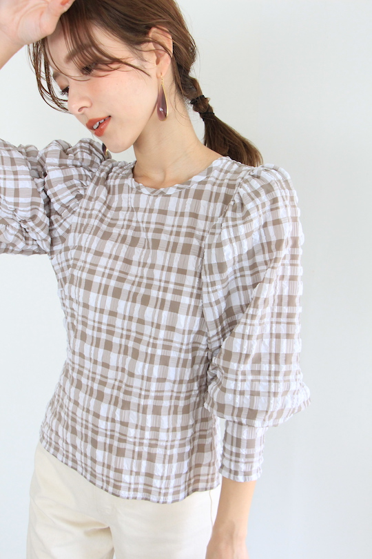 JUST plaid puff sleeve tops