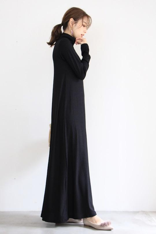JAN 'N JUNE rib high neck long sleeve dress