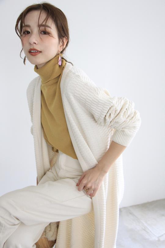 mila.vert organic cotton knit long cardigan