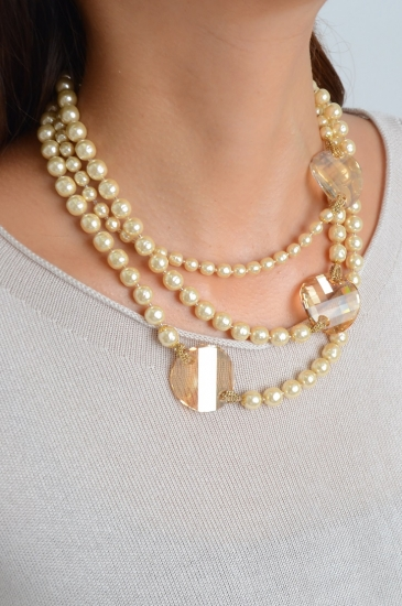 MIRIAM HASKELL brown stone three-stranded pearl necklace