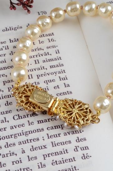 MIRIAM HASKELL ribbon×pearl bracelet