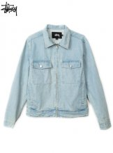 STUSSY - WASHED DENIM GARAGE JACKET (LIGHT BLUE)