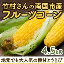 竹村さんの南国市産フルーツコーン 約4.5kg(10-16本)【地元でも大人気の極甘とうきび】