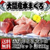【送料無料】 青森県産 大間 本マグロ 3種セット(大トロ・中トロ・赤身) 600g前 後(各200g前後)