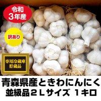 令和元年産 青森県ときわ産にんにく 並級品2Lサイズ 1kg・9〜12玉 福地ホワイト6片 10kg以上で送料無料