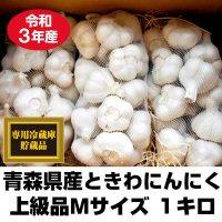 令和元年産 青森県ときわ産にんにく 上級品Mサイズ 1kg・18〜23玉 福地ホワイト6片 10kg以上で送料無料