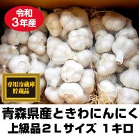 令和元年産 青森県ときわ産にんにく 上級品2Lサイズ 1kg・9〜12玉 福地ホワイト6片 10kg以上で送料無料