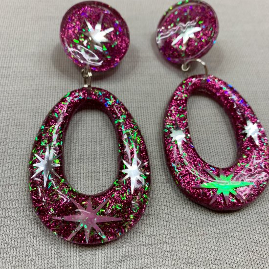 Wicked Witchcraft Cosmic Burnatomic Hoops in Pink