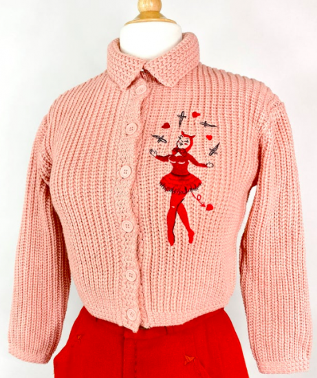 Mischief Made Dagger Devil Sweater in Peach