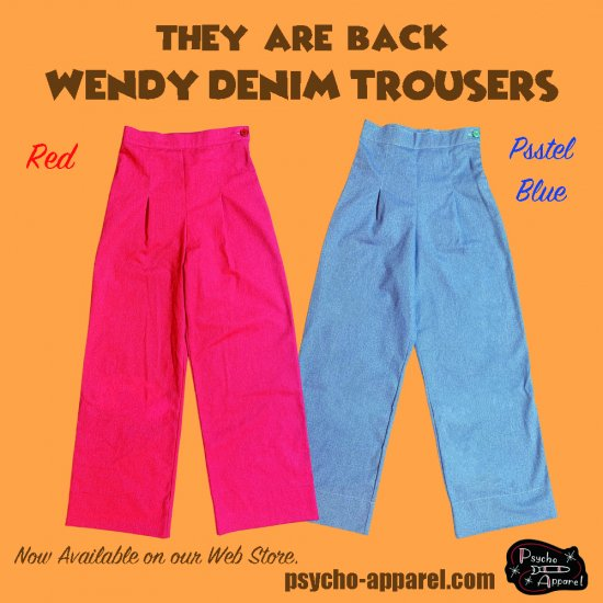 Psycho Apparel Wendy Denim Trousers in Red