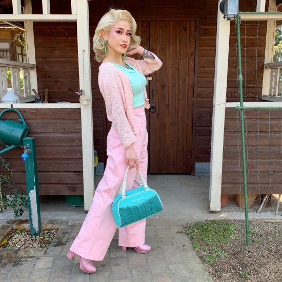 Betty Boobarella Wendy Denim Trousers Mask in Pink Hickory