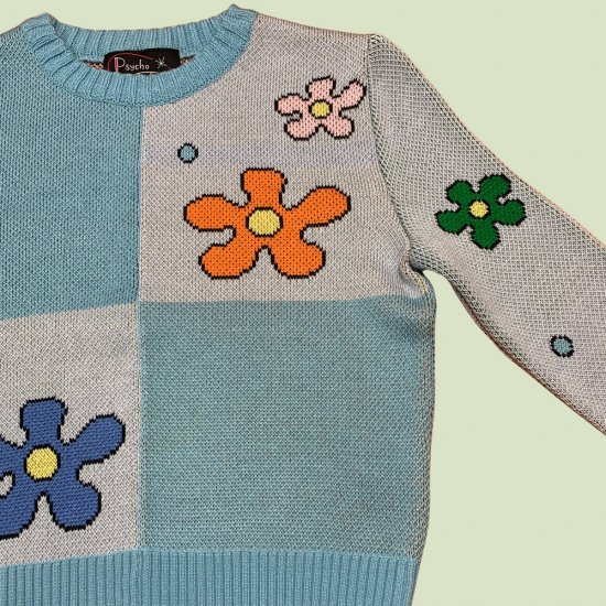 Psycho Apparel Power of Flower  Sweater in Blue