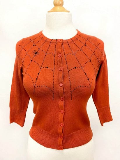 <img class='new_mark_img1' src='https://img.shop-pro.jp/img/new/icons1.gif' style='border:none;display:inline;margin:0px;padding:0px;width:auto;' />Mischief Made Spider Web Cardigan in Dusty Orange