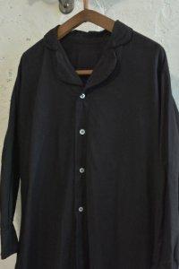 【1940's イタリア製 スリーピングロングシャツ フルオープンタイプ 後染めブラック】