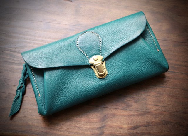 【受注製作(納期約2週間)】イタリアンレザー*長財布 「series-envelope」(ターコイズ)