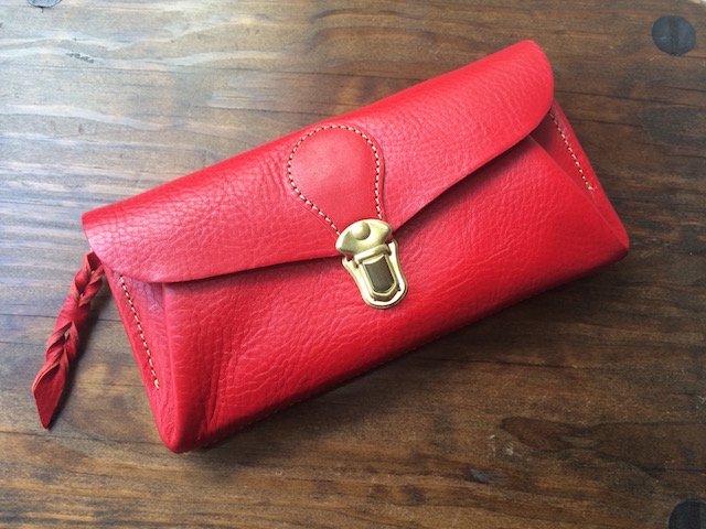 【受注製作(納期約2週間)】イタリアンレザー*長財布 「series-envelope」(スカーレット)