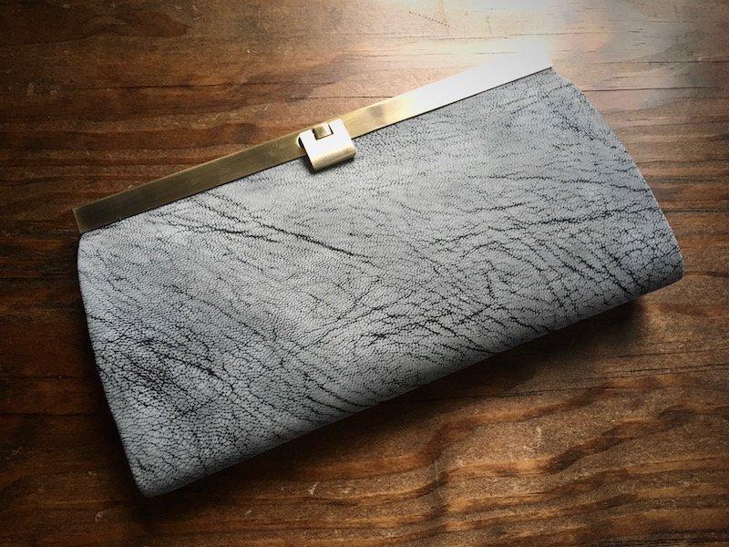 【数量限定】ALRANヌバックゴートレザー*カード12枚収納長財布「rectangle」フローズングレー